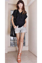 black bag - black blouse - silver shorts - orange shoes