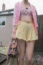 Light-yellow-bow-diy-shorts-bubble-gum-pink-vintage-blazer