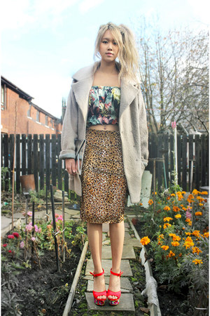 camel Miss Selfridge skirt - heather gray Topshop coat