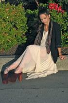 ivory chiffon Lulus dress - black thrifted blazer - thrifted vintage scarf - mar