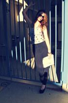 black American Apparel jeans - white vintage purse - black Aldo wedges - light b