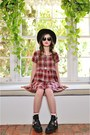 Black-ankle-steve-madden-boots-brick-red-plaid-babydoll-audrey-dress