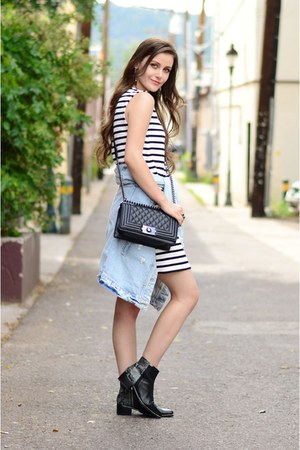 black Grey City boots - white striped Zara dress - light blue denim Zara jacket
