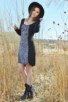 black distressed Roxy boots - black patterned Earthbound Trading Co dress