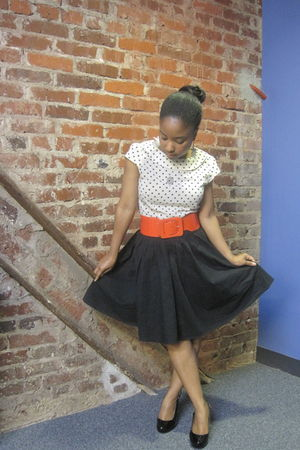 black Target skirt - white H&M top - red H&M belt