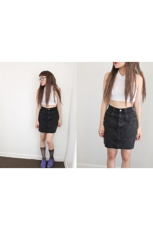 thrifted vintage skirt - Dr Martens boots - crop top Wasteland top