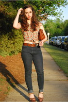 navy Forever 21 jeans - red floral thrifted blouse - brown Aldo wedges