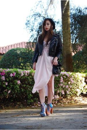 light pink Vintage by Shevahh dress - black Vintage by Shevahh jacket