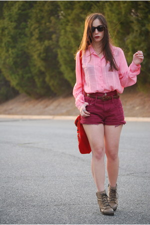 beige Aldo boots - red Persian bag - maroon thrifted shorts