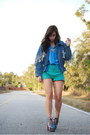 Turquoise-blue-vintage-shorts-denim-vintage-vintage-by-shevahh-jacket