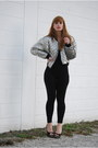 Silver-puff-sleeve-vintage-by-shevahh-jacket-black-american-apparel-bodysuit
