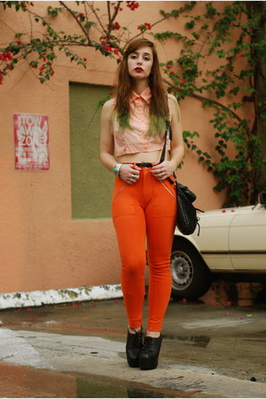 orange high waisted H&M pants - black satchel Forever 21 bag