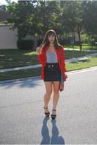 black Aldo Shoes heels - gray Forever 21 dress - red vintage blouse