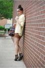 Bronze-h-m-dress-light-yellow-thrifted-vintage-blouse-dark-brown-bandage-sty