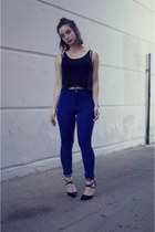 black crop top Forever 21 top - blue high waisted Motel Rocks pants