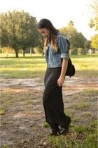 sky blue vintage jacket - black Dr Martens boots