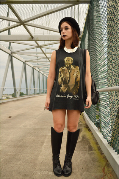 black riding boots vintage boots - black marvin gaye thrifted dress