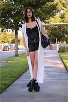 white maxi 10th Tribe cardigan - black H&M shorts - black hellbound UNIF heels