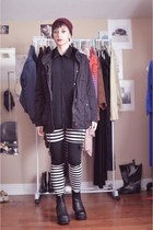 black striped chicnova leggings - black vintage boots - brick red beanie H&M hat