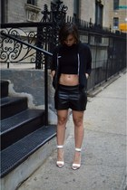 black leather Forever 21 shorts - black crop American Apparel top