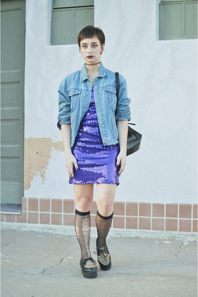 amethyst sequins vacant moon vintage dress