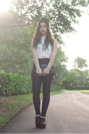 black disco pants American Apparel pants - white H&amp;M blouse