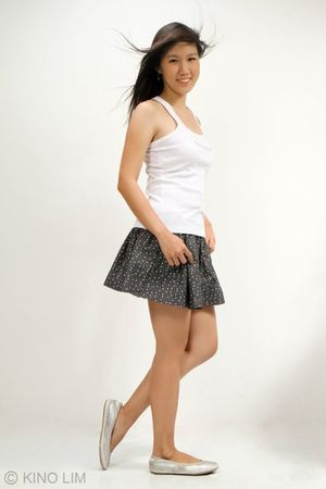 white Mango t-shirt - gray July skirt - silver nike shoes