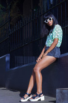 lime green Front Row Shop top - black American Apparel shorts