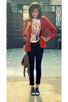red random jacket - asos shoes - leather beige random bag