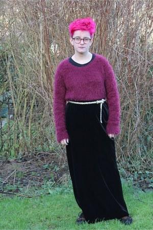 black skirt - brown brogues Clarks shoes - black long sleeve Primark shirt