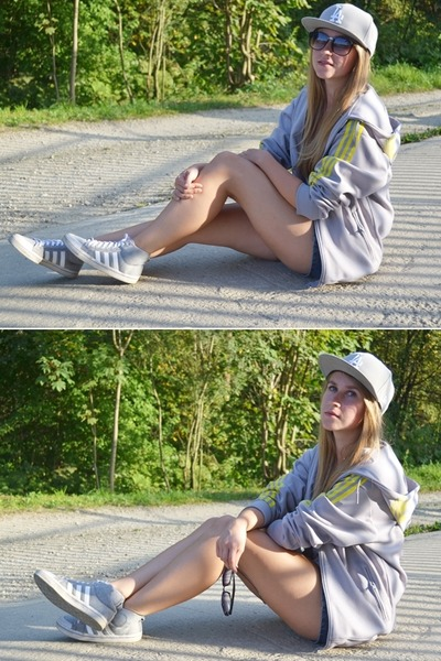 silver LA Full Cap hat - navy New Yorker shorts - silver adidas blouse