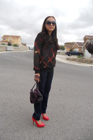 navy Target jeans - deep purple Carlos Falchi for Target bag