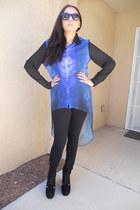 blue Agaci blouse - black Jcpenny leggings - black Agaci pumps