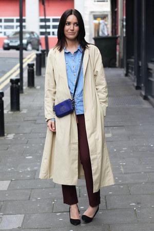 H&M coat - Mulberry bag - Zara pants - Topshop blouse - River Island heels
