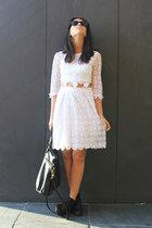 white dress - bag - black sunglasses - flats
