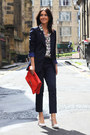 Navy-zara-blazer-red-clutch-zara-bag-bubble-gum-paisley-asos-blouse