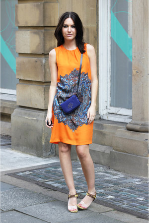orange Zara dress - blue Mulberry bag - H&M earrings - Missoni heels