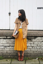 trench H&M coat - leopard print Zara bag - knitted Zara t-shirt - midi H&M skirt