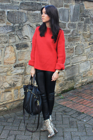 red H&amp;M jumper - beige Zara boots - Mulberry bag - black Topshop pants