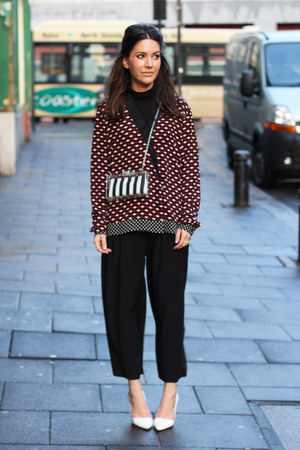 perspex Zara bag - crimson printed Zara shirt - black cropped H&amp;M pants
