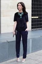 forest green Zara necklace - silver Kurt Geiger bag - navy H&M Trend pants