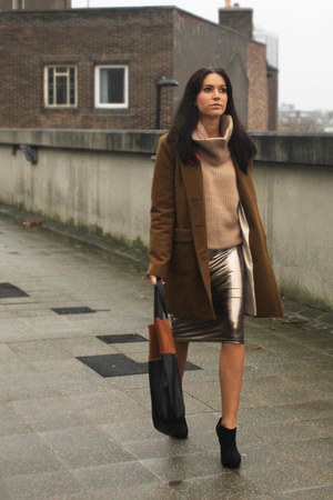 bronze River Island skirt - black new look boots - brown River Island coat