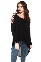 Open Shoulder Chiffon Contrast Tunic with Acid Wash Skinny Jeans