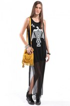 black Jeffrey Campbell sneakers - black Akira dress - mustard Akira bag