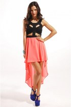 Reverse Cut Out Dress with Tail Back Skirt in Neon Coral