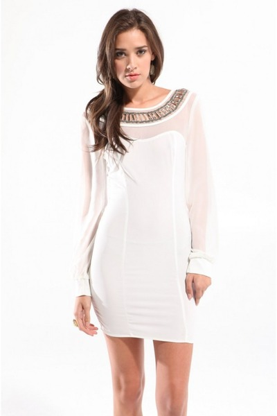 white Akira dress - silver beaded neckline Akira dress