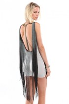 Nuvula T-Back Fringe Dress in Grey