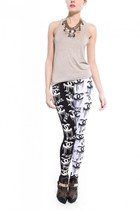 white Akira leggings - heather gray Akira t-shirt - black Jeffrey Campbell heels