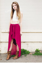 Turtle Neck Crop &amp; High-Low Skirt