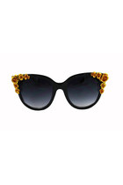 Gold Floral Beaded Large Frame Cat Eye Sunglasses